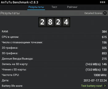 Результаты AnTuTu benchmark 2.8.3 планшета LuxP@d 4714